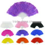 Festival Performance Feather Fan,Party Decorative Dyed Feather Fan,Dancing Folding Hand Fans Promo Gifts Wholesale Factory