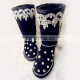 Aidocrystal 2014 new wholesale Black winter snow diamond rhinestone boots for women