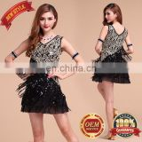 BestDance dance dress latin Tassel Sequin Fringe Flapper Dress