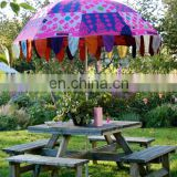 Colorful Embroidery Big Garden Umbrella Patio Home decor Art Parasol Vintage Decor Garden Umbrella Decor cotton Handmade work