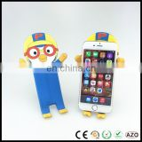 Custom design 3D cartoon soft pvc bendable mobile phone holder