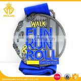 Factory Custom Walk Fun Running Medal in Antique Silver Plated
