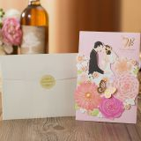 8set Beautiful Design Bride and Groom Laser Cut Wedding Invitations Card Greeting Card Envelope Print Customize Wedding Party Decoration