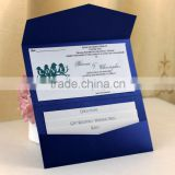 2016 Latest European Style Royal Blue Wedding Invitation with Envelope