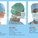 PP SMS spunlace medical quality non woven surgical doctor caps with ties for female and male white blue green