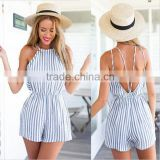 Sexy Backless Women beach stripe jumpsuit playsuit dress woman apparel hot designer one piece party dress clothing