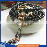 8mm Multilayer yellow Tiger Eye and black Obsidian Malas Prayer Beads Bracelet
