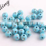 Turquoise Color Chunky Acrylic Solid Rhinestone Bling Beads 4mm to 12mm Wholesales Jewelry