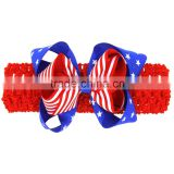 Hot-sales kids crochet Headband for 4th of July fashion baby large bow Hair Bands hair flower wh-1744