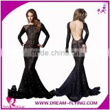 Sexy ladies long sleeve evening ball gown fishtail bandage mermaid maxi dress