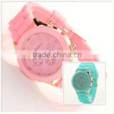 2015 Colorful New Geneva Silicone Jelly Watch/Jelly Ladies Fancy WristWatch/Latest wrist Watch For girls