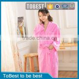ToBest Hotel supplies factory wholesale Popular cheap comfortable and soft pink coral fleece bath robe for women