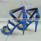 Blue patent leather shoe womans sandals for 2015 summer