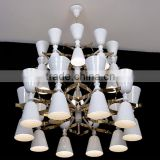 Modern Italy Design Double-deck Chandelier with Cups Shade LED Up and Down Lights for Hotels