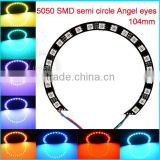50000 hours lifespan104mm DC12V Black PCB semi circle 5050 smd angel eyes japan auto spare parts