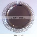 Designer Crystal charger plate, charger tray, beaded charger plate, glass bead charger plate