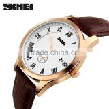 2016 skmei luxury men leather band quartz stainless steel watch black 2016 wholesale price