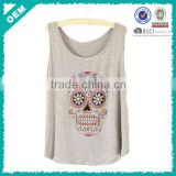 Skull pattern sleeveless t shirt (lyt010277)