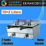 Table top electric oil fryers two tank two basket with valve 20l thermostat controlled deep fryer (SY-TF210V SUNRRY)