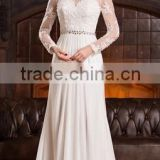 Everning Dress Party dress A-Line/Princess Scoop Neck Court Train Chiffon Lace Wedding Dress With Ruffle Beading Sequins