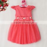 2015 New Arrival Baby Princess Dresses Polyester Red Girl Dresses Flower Pattern Children Party Clothes Wholesale GD40814-15