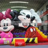 Commercial grade mickey minnie mouse inflatable jumping castle, inflatable bouncy castle slide