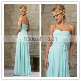 Latest dress designs for bridesmaid light blue long chiffon bridesmaid dress pattens 2015 ( BDAL-5007)