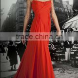 Designer Fashion Half Sleeve Floor-length Red Chiffon Arabic Evening Gowns Dresses(EVFA-1104)