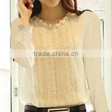 lace plakect decorative round neck leisure lastest blouse