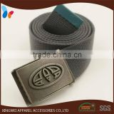 Solid printed canvas cotton webbing belt with alloy metal buckles
