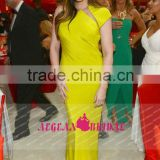 AEP712 khloe kardashian oscars 2013 cap sleeve tight sexy yellow prom dress