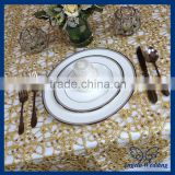 TL004A Cheap Hot sale elegant polyester wedding embroidered fancy sequin gold table overlay