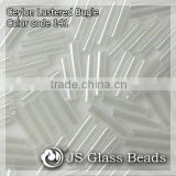 "High Quality Fashion JS Glass Seed Beads - 141# 4"" 9MM Ceylon White Opalescent Bugles Beads For Garment & Jewelry"