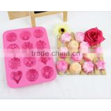 Wholesale FDA food grade 12 cavity flowers shaped nonstick silicone soap making moulds supplies