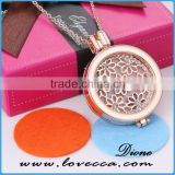 Rose gold Aroma Jewelry Essential Oil Diffusing Locket Pendant Necklace For Aromatherapy