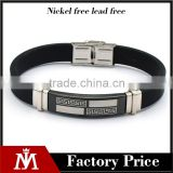 High Quality Mens Charm Bangle Religious Stainless Steel Antique Silicone Bracelet Jewelry