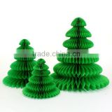Green Paper Tabletop Christmas Tree 3 Small Green Honeycomb Tissue Paper Christmas Trees