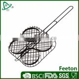 Non-stick charcoal iron bbq wire grill hamburger basket for campingaz