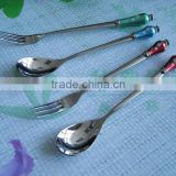 Promotion Eco-Friendly Feature aluminum long handle bar spoon;aluminium handle decor cutlery