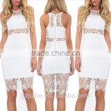 2015 Summer Sleeveless Patchwork Ladies Lace Dresses mesh Bodycon White Elegant Sexy Club Evening Party Dresses