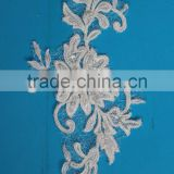 Attractive design embroidery flowers with beads pattern top quality