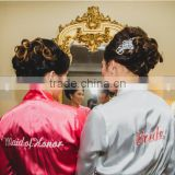 Wholesale Personalized Satin Bridal Robe with Name on Front and Back