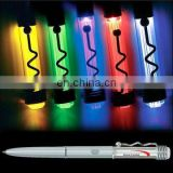 assorted led pen w/logo &spring clip for promo,gifts(aluminum,batteries included,twist on/off, click lighting,CE,RoHS approval)