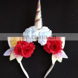 floral birthday party horn headband unicorn headband unicorn