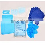 disposable non woven / SMS kit including cap / SMS surgical gown / CPE shoe cover for hospital