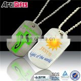 High end metal gold dog tags for kids with ball chain