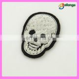 Brilliant high quality hand embroidered Skull badges in china