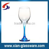 Promotional handmade blue stem wine glass/clear wine glass with blue stem/blue stem glass wine cup