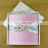 Top Quality Wood Material Silk Cover Gate Fold Folio Wedding Invitation Box                                                                         Quality Choice