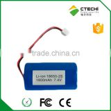 OEM service battery, rc helicopter 7.4V long lihtium battery life 25C 18650 Cell customized capacity for MP4/Bluetooth headsets